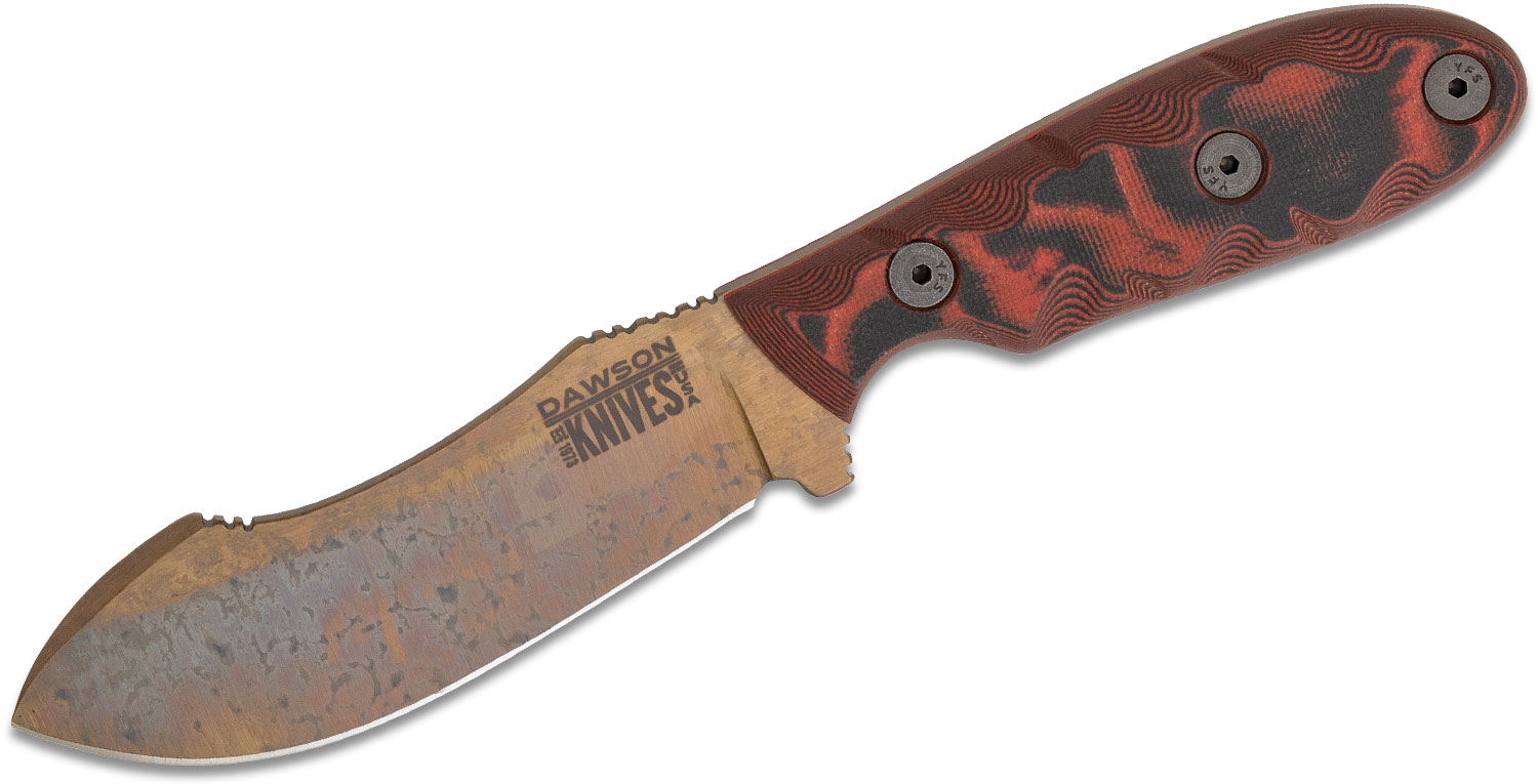 Dawson Knives Custom Javalina Fixed Blade Knife 4 inch CPM-3V Arizona Copper Blade, Red and Black G10 Handles, Kydex and Leather Sheath