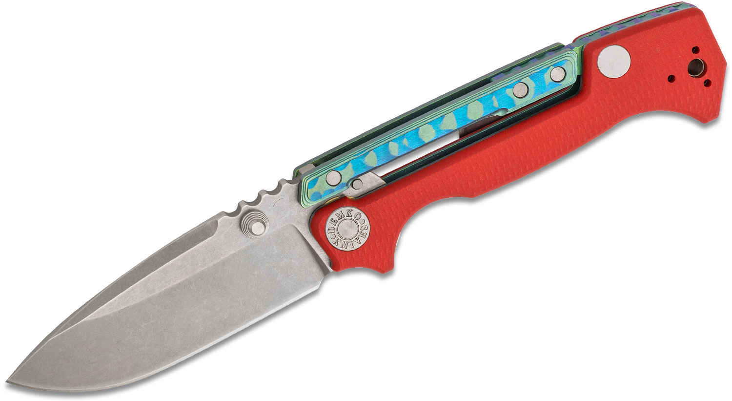 Andrew Demko Custom AD15 MG Folding Knife 3.75 inch CPM-20CV Machine Ground Blade, Red G10 and Textured Blue/Green Titanium Handles