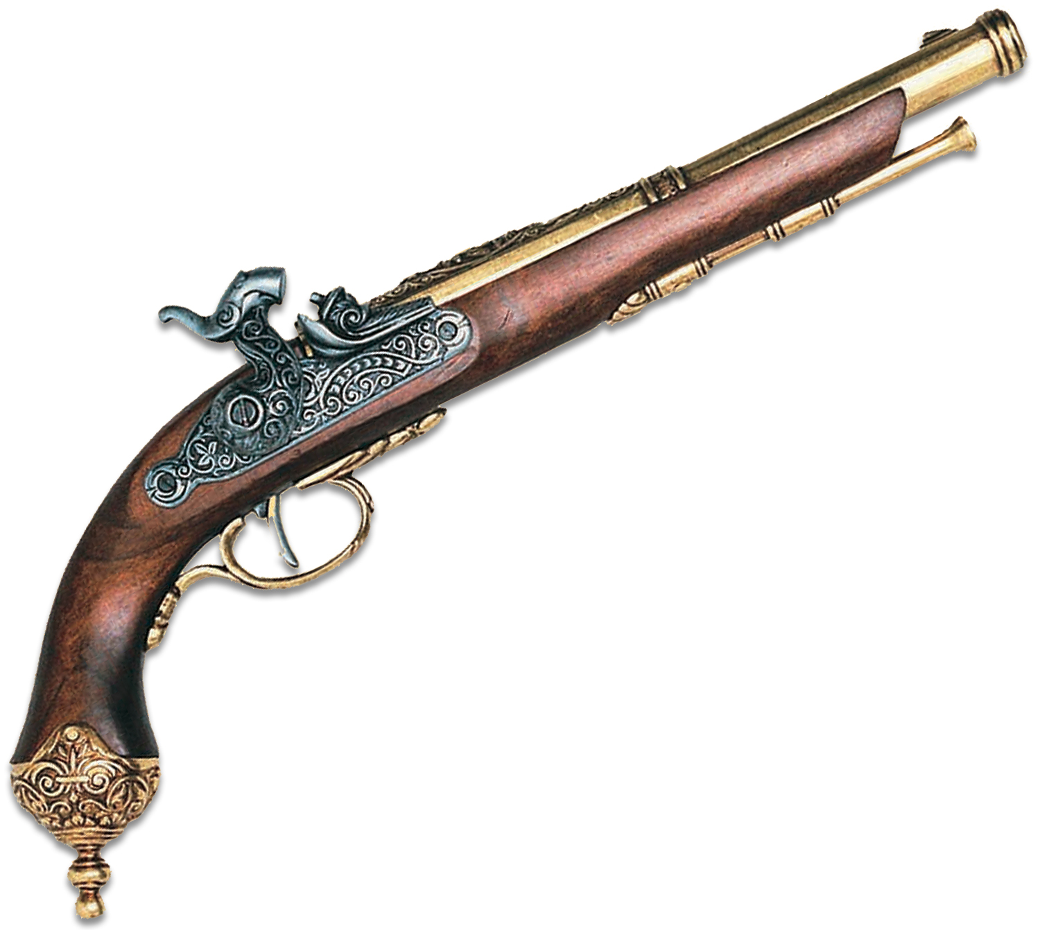 Denix Reproduction 1825 Italian Percussion Dueling Pistol, Brass