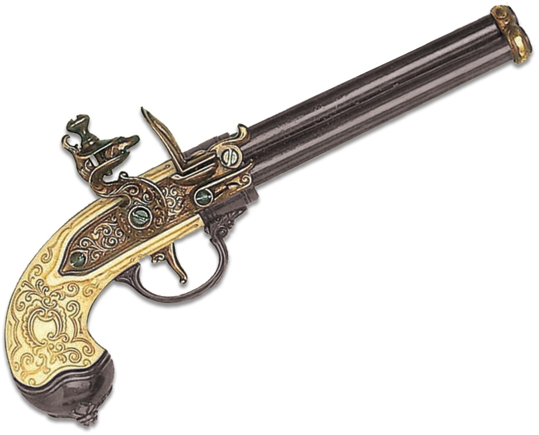 Denix Replica 1680 Italian 3-Barrel Flintlock Pistol, Brass