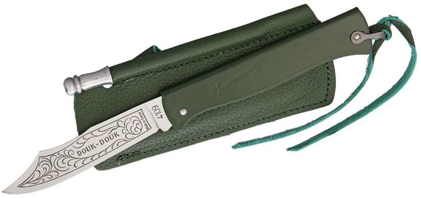 Douk-Douk Folder 3-1/8 inch Etched Carbon Steel Blade, Green Steel Handles