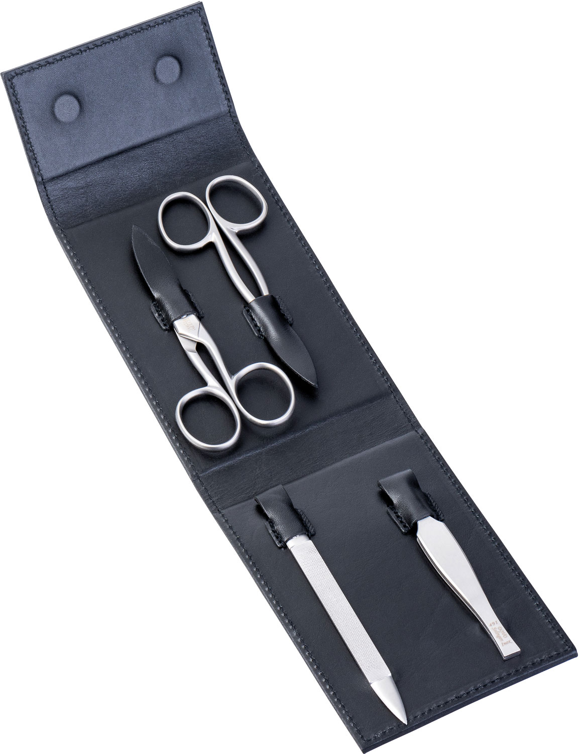 DOVO 4 Piece Manicure Set in Magnetic Black Leather Case