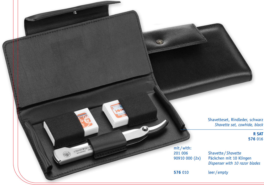 DOVO 201006 Shavette Replaceable Blade Straight Razor Set, 2 Extra Packs of Blades, Leather Pouch