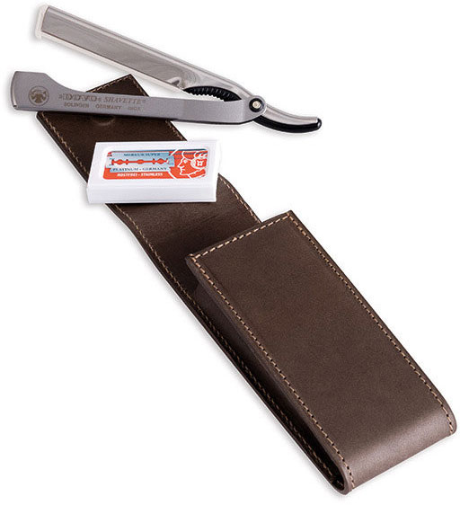 DOVO Shavette Replaceable Blade Straight Razor, Matte Stainless Steel Handle, Brown Cowhide Leather Case