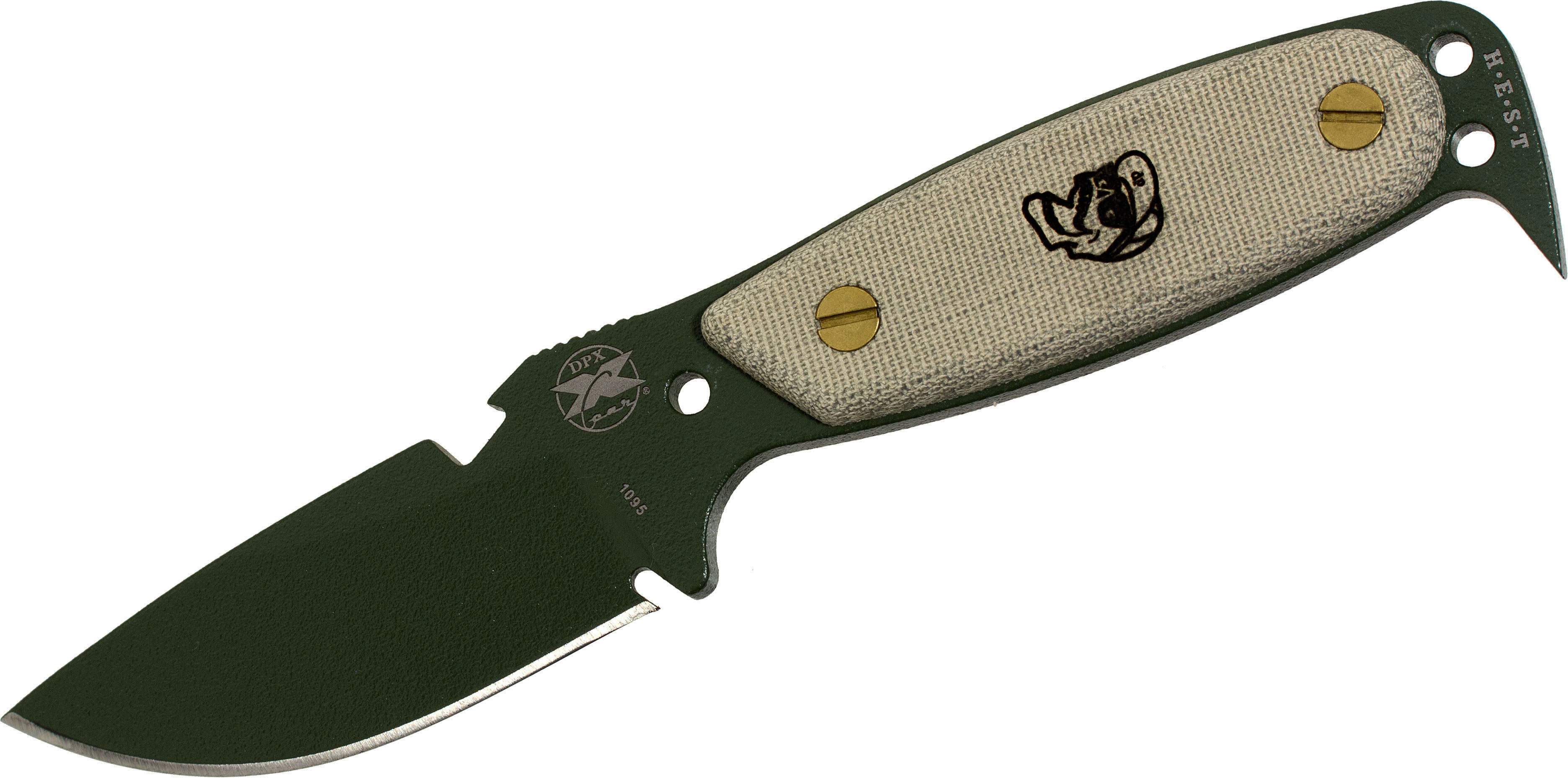 DPx Gear HEST Original by Rowen Fixed 3.13 inch Blade, OD Green, Micarta Handles, Kydex Sheath