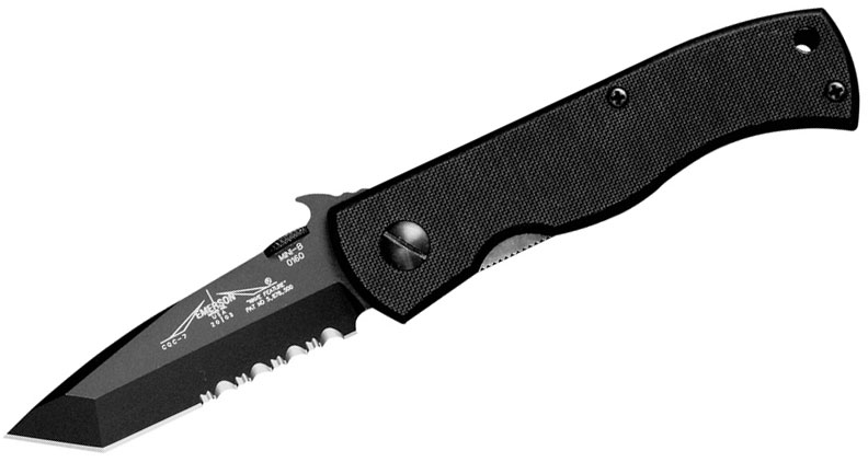 Emerson CQC-7BW Folding Knife 3.3 inch Black Combo Tanto Blade with Wave, G10 Handles
