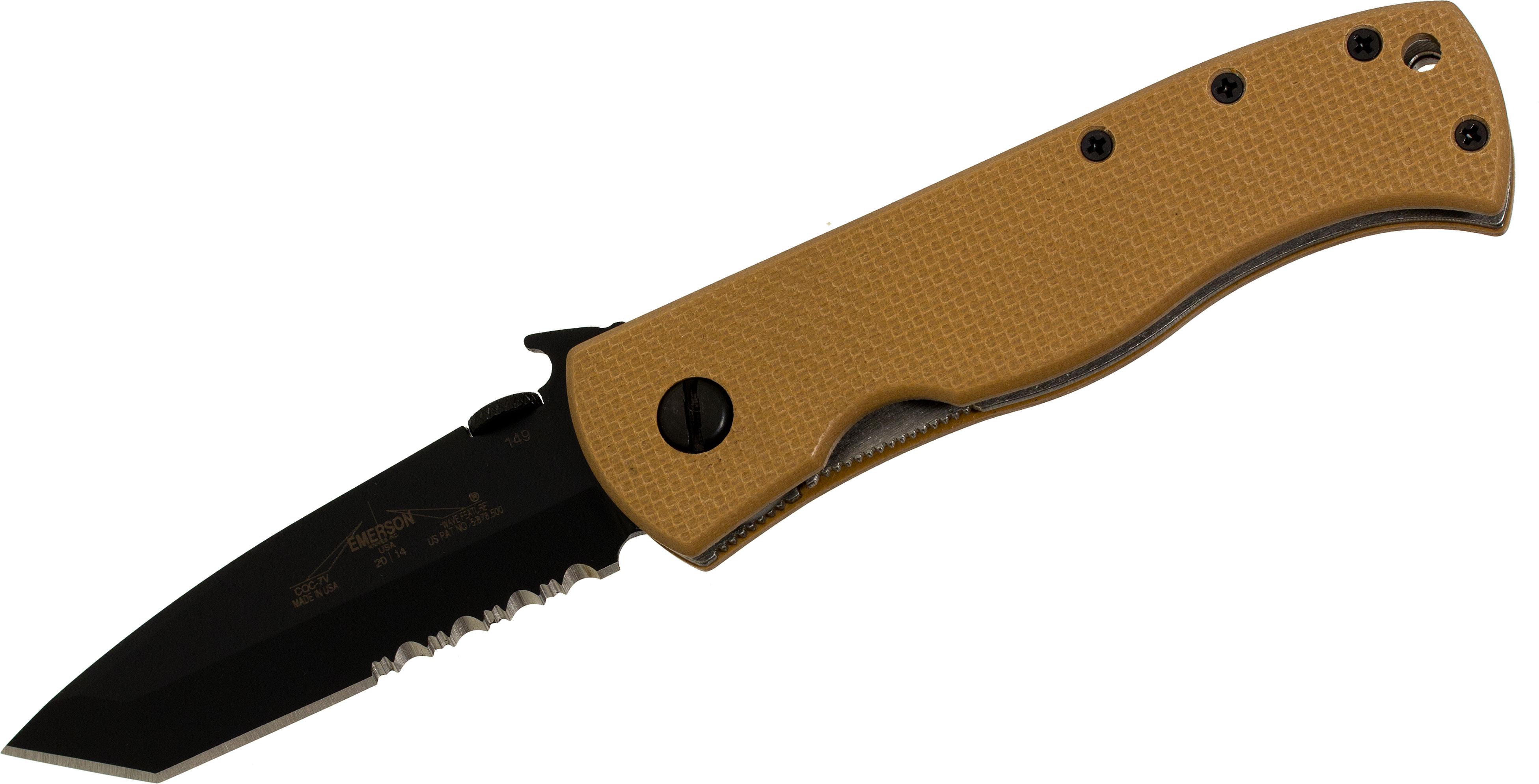 Emerson CQC-7V Folding Knife 3.3 inch Black Tanto Combo Blade, Wave, Afghan Tan G10 Handles