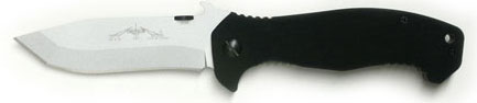 Emerson CQC-15 Folding Knife 3.9 inch Stonewash Plain Blade with Wave, Black G10 Handles