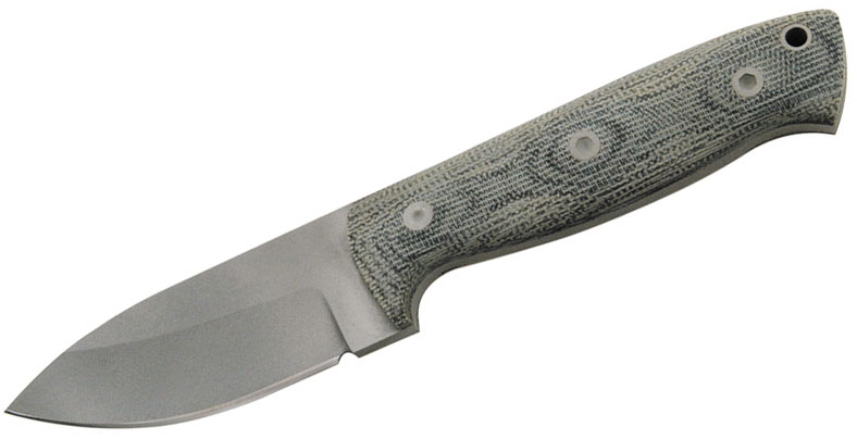 Entrek Badger Fixed 3.375 inch Bead Blast Blade, Black Canvas Micarta Handles
