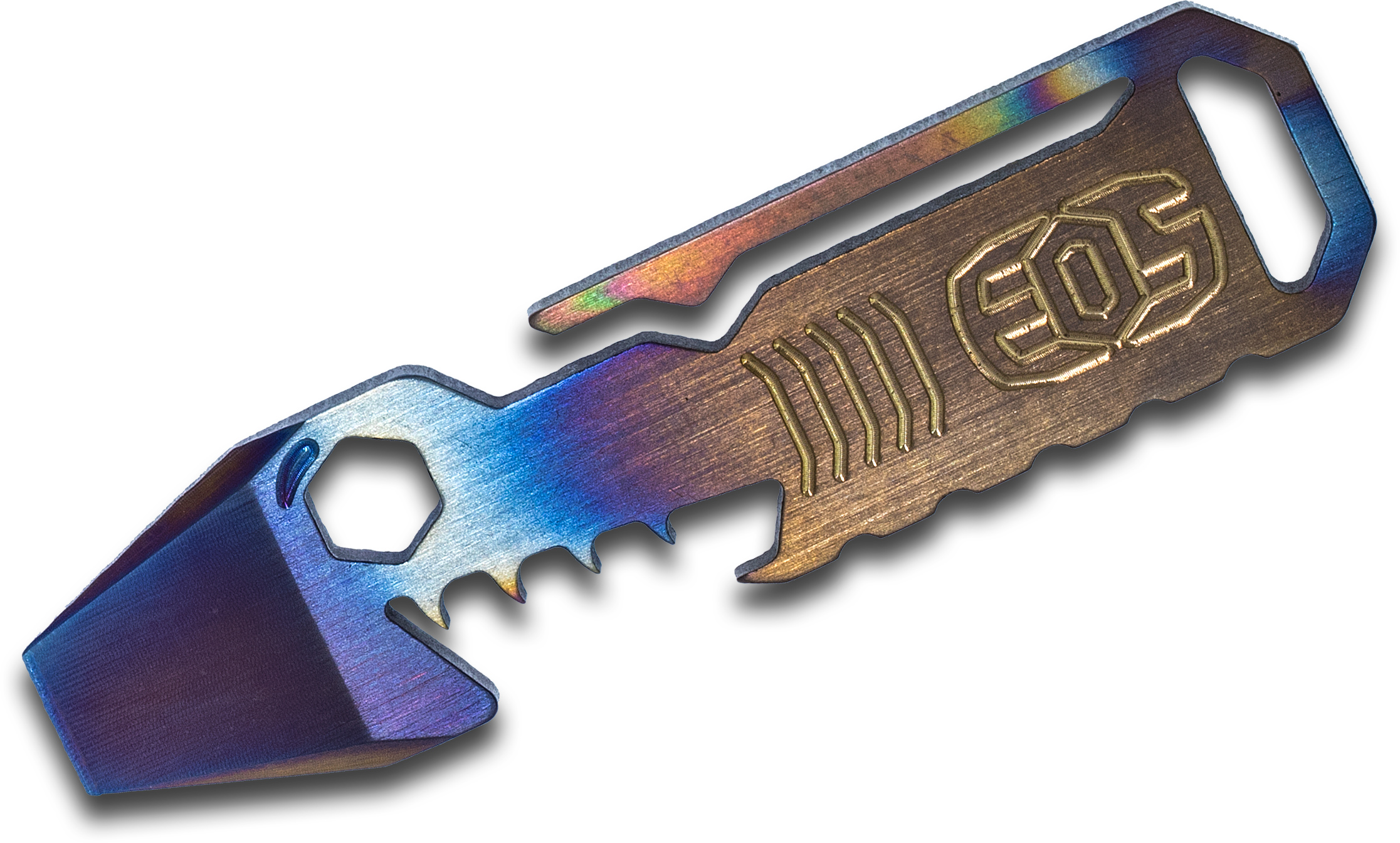 EOS Titanium Mini TiShark Pry Bar Multi-Tool, Flamed