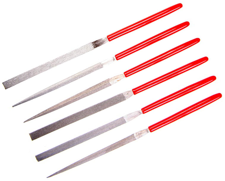 EZE-LAP 607F Fine Grit Needle Files, 6 Pack, Red Handles