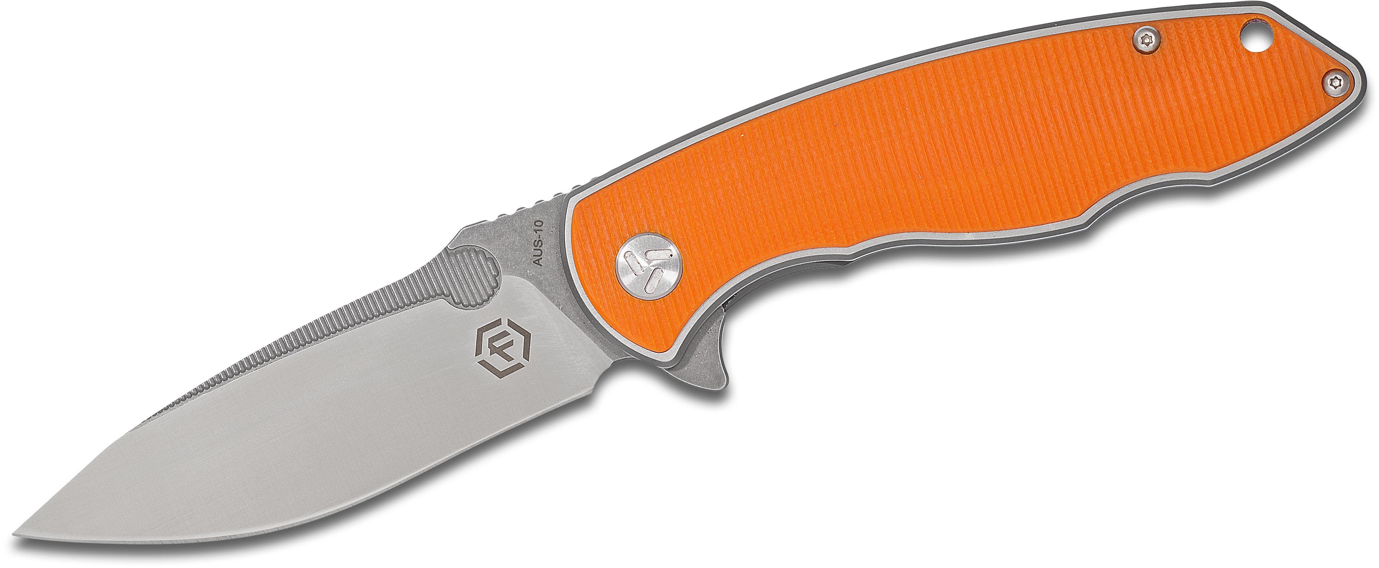 Factor Equipment FH003 Hardened Flipper 3.7 inch AUS-10 Two-Tone Blade, Orange G10 Handles