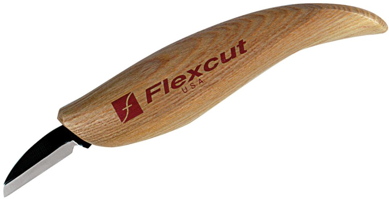 Flexcut Cutting Knife 1.125 inch Carbon Steel Blade, Ash Wood Handles