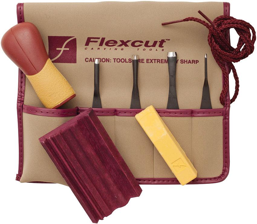 Flexcut 5-Piece Printmaking Set, 4 Different Style Blades w/ Interchangeable Wood Handle