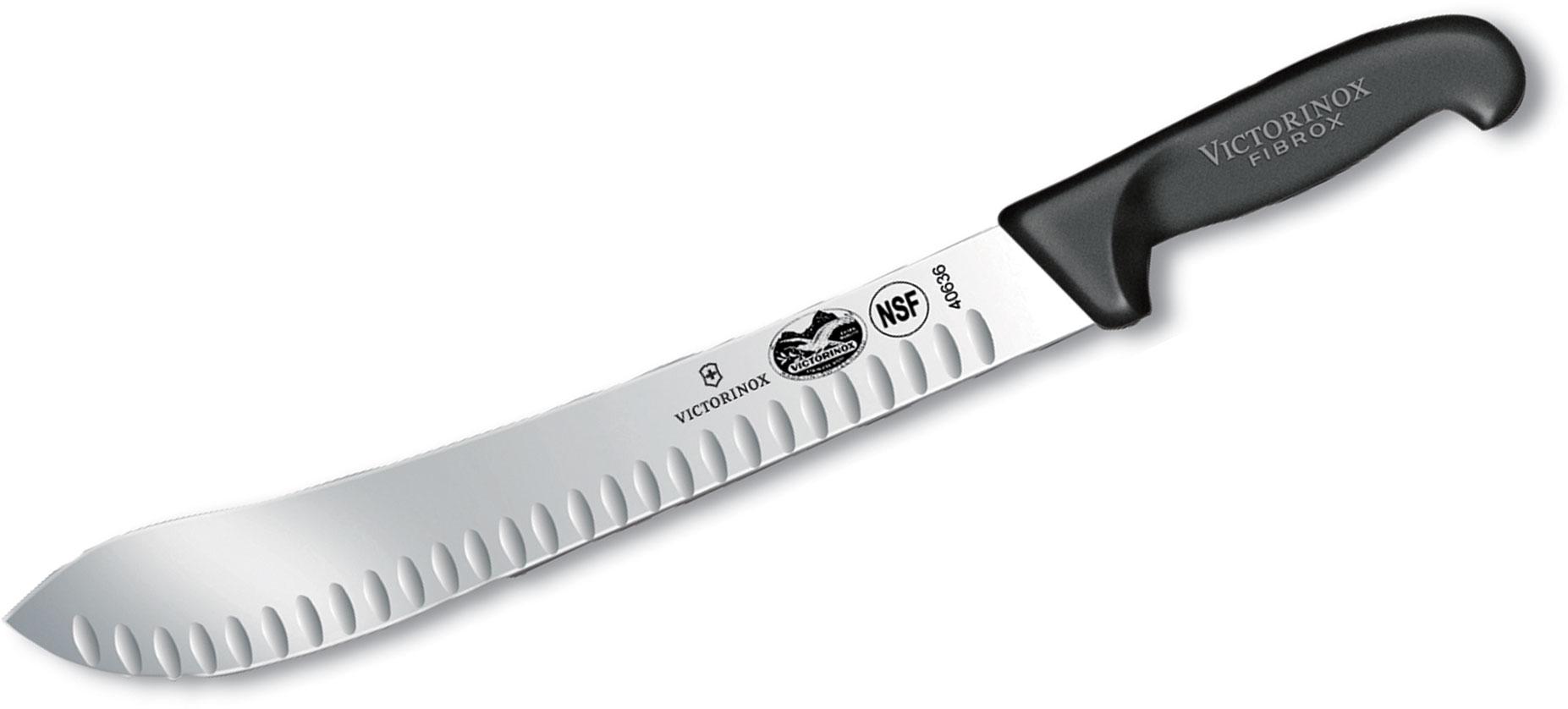 Victorinox Forschner Fibrox 12 inch Granton Edge Butcher Knife, Black TPE Handle