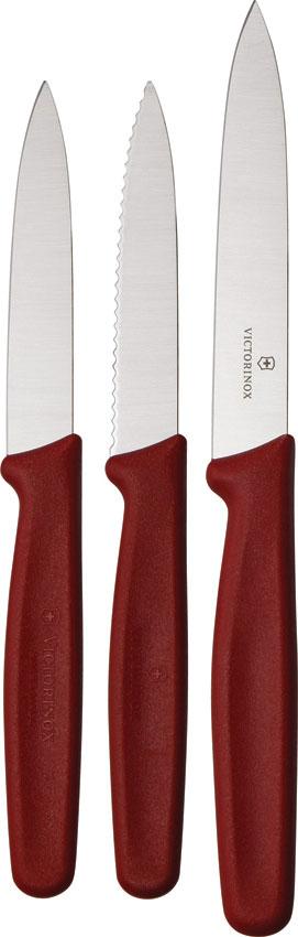 Victorinox Forschner Standard 3 Piece Utility Knife Set, Red Polypropylene Handles