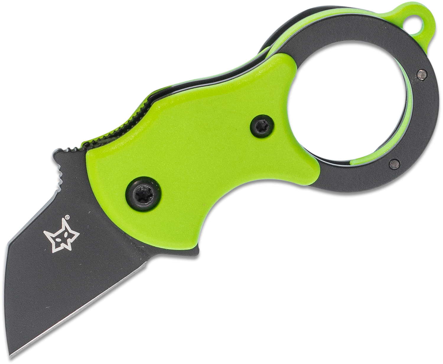 Fox FX-536 GB Mini-TA Folding Karambit Knife 1 inch Black Blade, Green FRN Handles