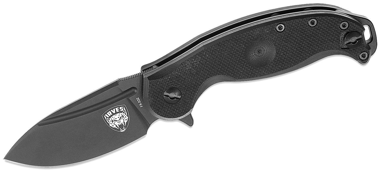 Fox FKMD FX-532 Irves Flipper Knife 3.35 inch Black Plain Blade, Black G10 Handles