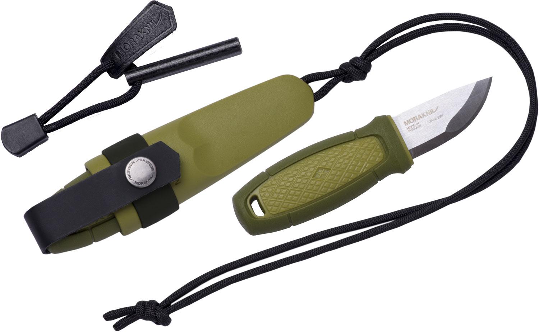 Morakniv Eldris Pocket-Size Neck Knife Kit Fixed 2.2 inch 12C27 Blade, Fire Starter, Paracord, Green Polypropylene Handle