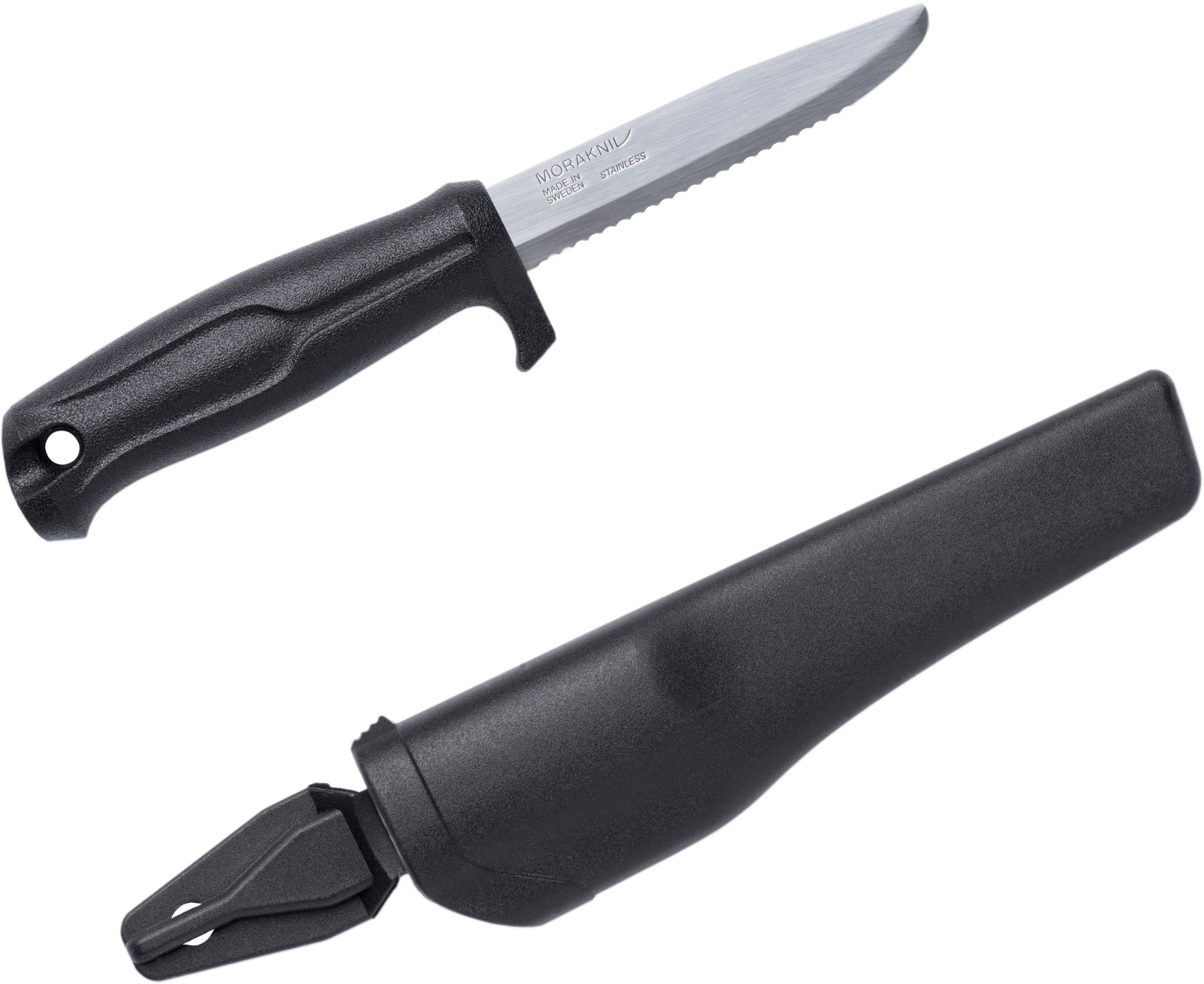 Morakniv Mora of Sweden Marine Rescue 541 Fixed 3.625 inch Stainless Steel Combo Blade, Black Polymer Handle, Black Polymer Sheath