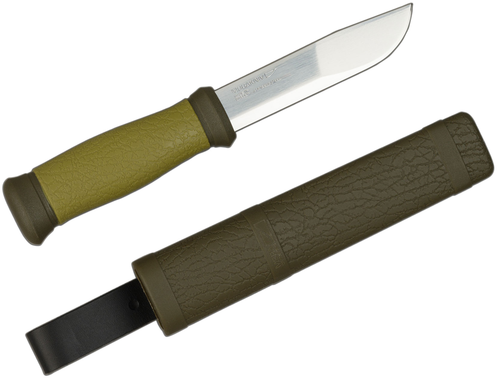 Morakniv Mora of Sweden Outdoor 2000 Utility Knife 4.3 inch Stainless Steel Blade, Olive Green Rubber Handle