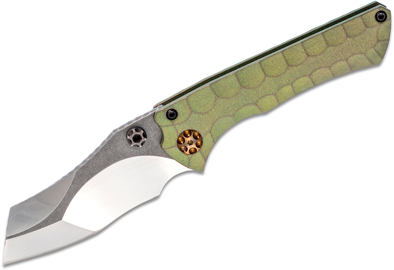 Gavko Knives Michal Gavac Custom Nurse Folding Knife 3 inch AEB-L Compound Chisel Ground Blade, Green Reptilian Titanium Handles
