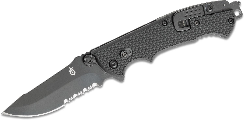 Gerber Hinderer CLS Rescue Folder 3.5 inch Combo Blade, Seat Belt Cutter, Window Breaker and Oxygen Tank Wrench