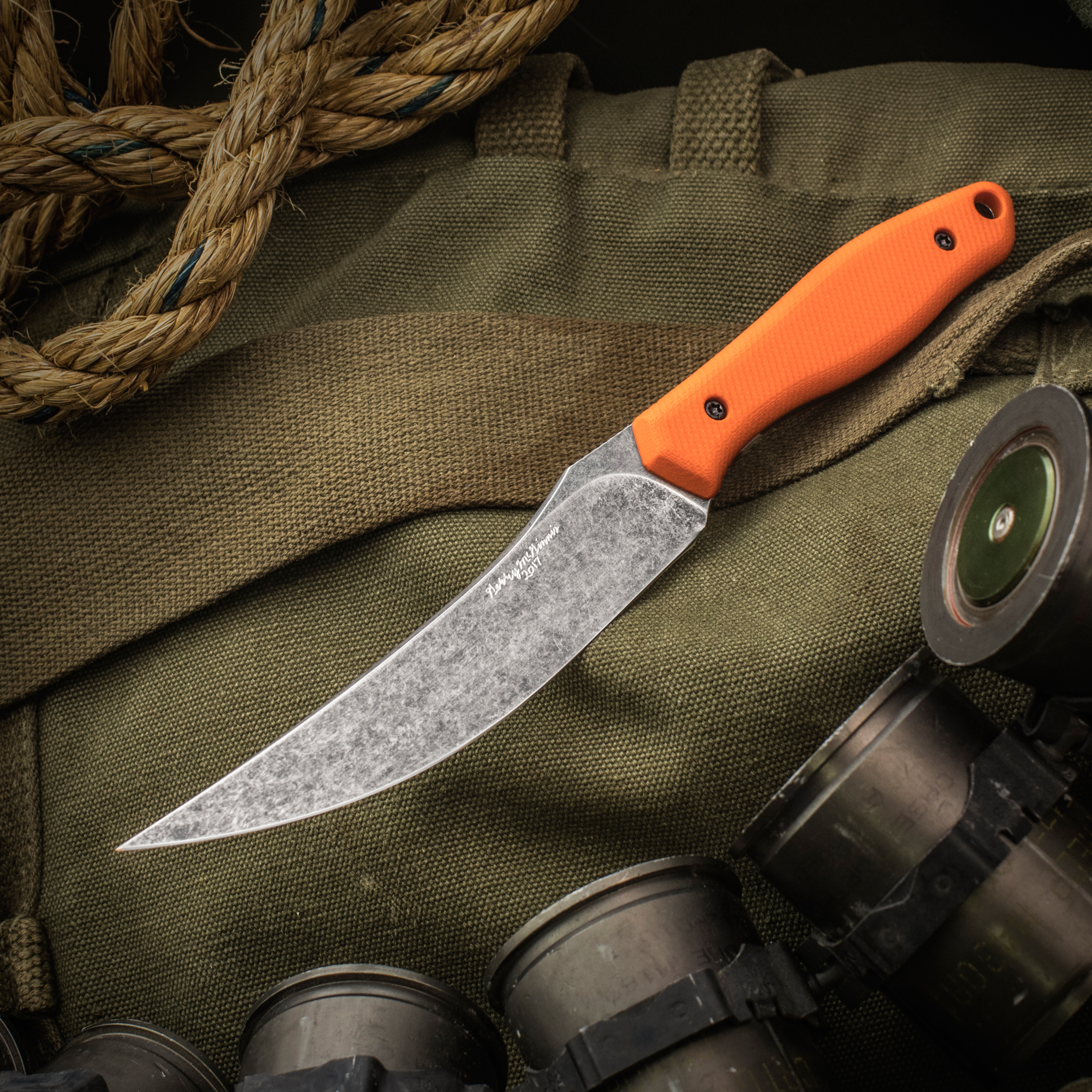 Gerry McGinnis Custom Skinner Fixed 4.5 inch CPM-154 Acid Washed Blade, Orange G10 Handles, No Sheath
