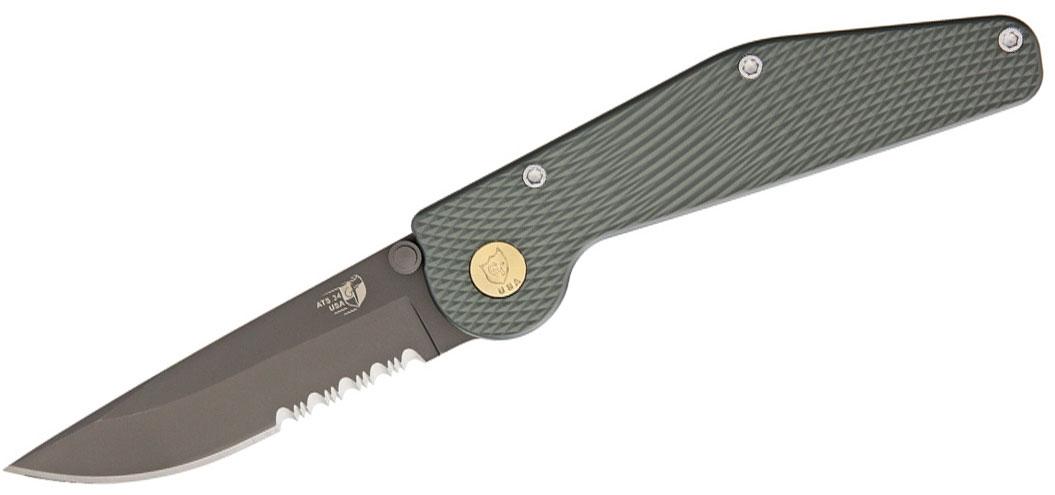GT Knives 110 Push Button Manual Folding Knife 3.5 inch Black ATS-34 Combo Blade, Green Aluminum Handles