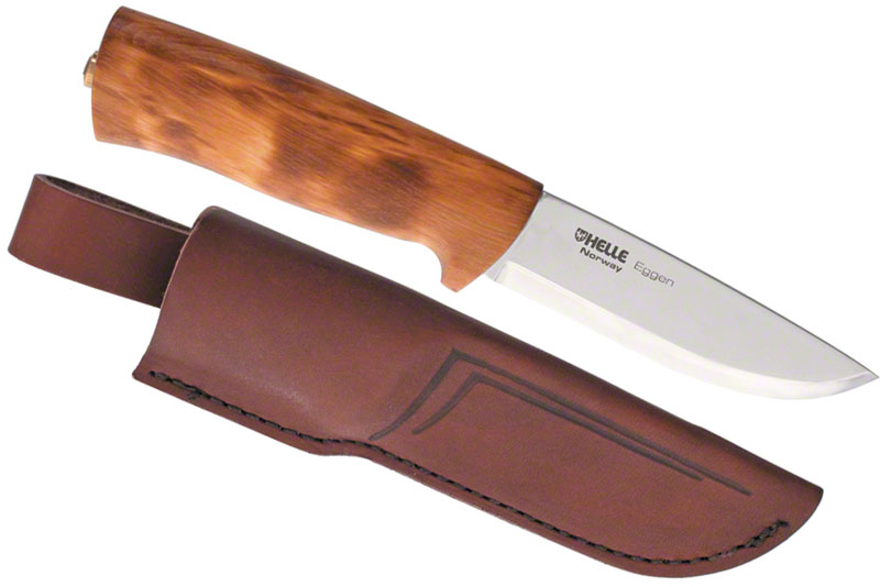 Helle Eggen Hunting Knife 4 Blade Curly Birch Handle Leather Sheath Knifecenter 75