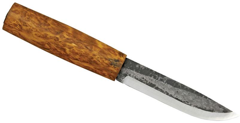 Helle Viking Fixed 4-1/4 inch Blade, Round Birch Wood Handle, Genuine Leather Sheath