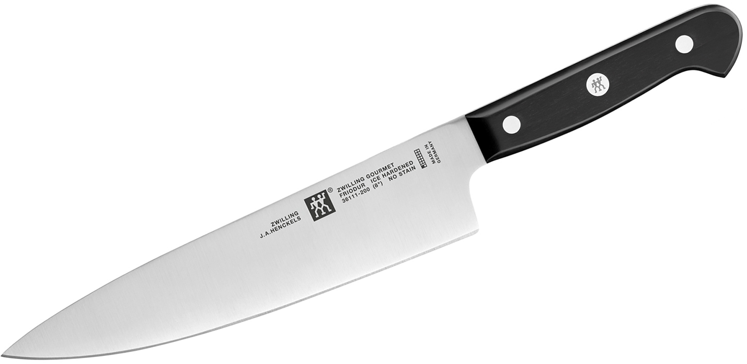 Zwilling J.A. Henckels Gourmet 8 inch Chef's Knife, Black POM Handles