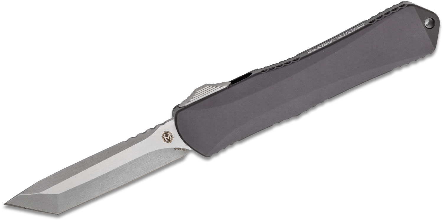 Heretic Knives Manticore X OTF AUTO 3.7 inch S35VN Stonewashed Tanto Blade, Black Aluminum Handles