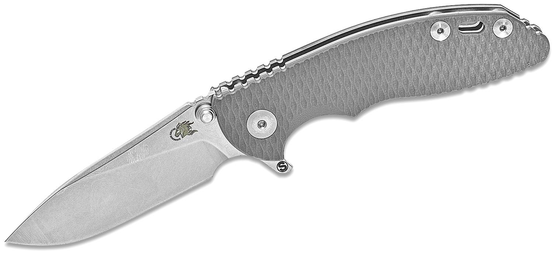 Rick Hinderer Knives Tri-Way XM-18 3 inch Skinny Flipper Knife, CPM-20CV Stonewashed Slicer Blade, Gray G10 Handles