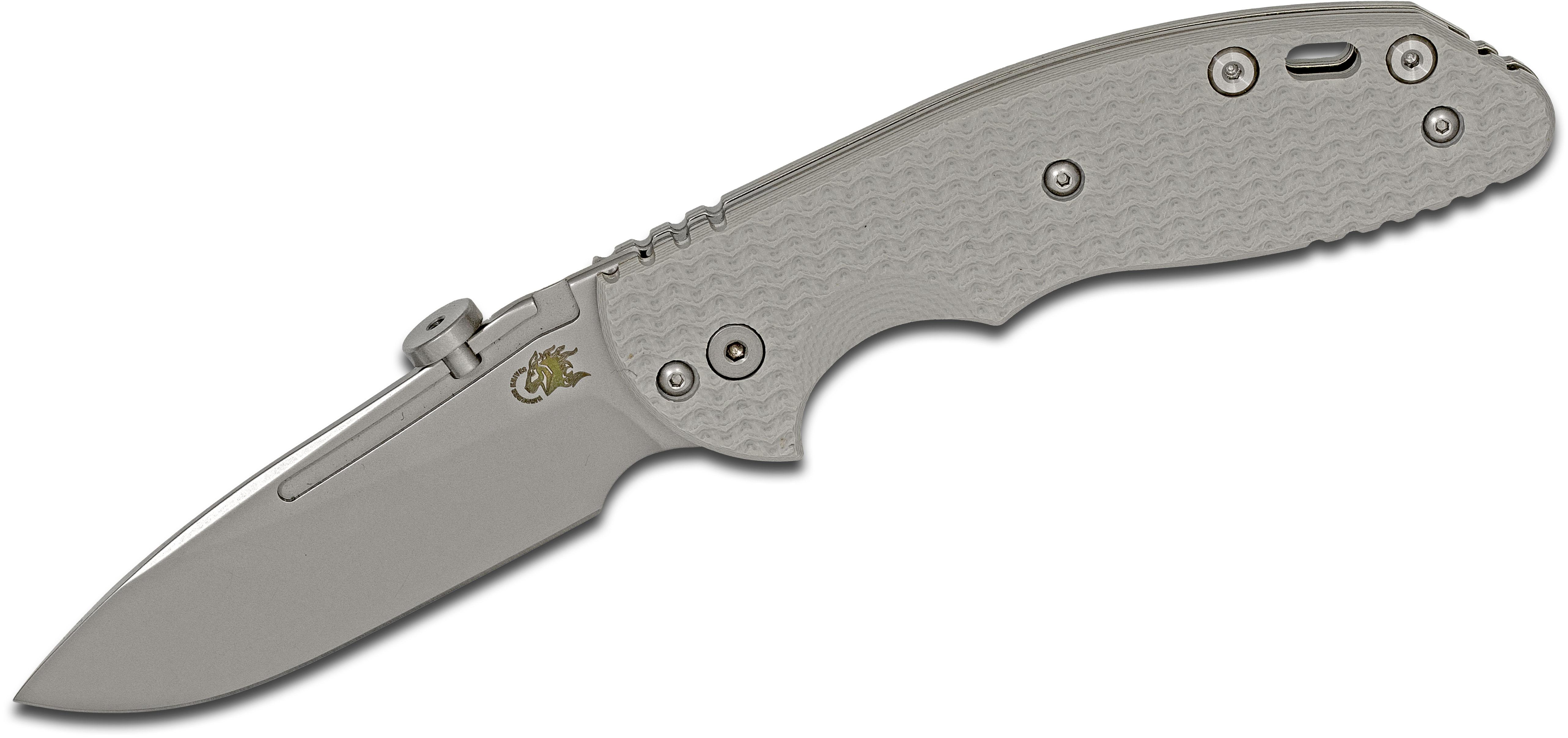 Rick Hinderer Knives XM-18 Slipjoint Folding Knife 3 inch CPM-20CV Stonewashed Slicer Blade, Gray G10 Handles