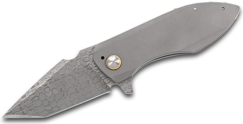 Kendall Hughes Custom Descant Prototype Flipper Knife 3 inch Nichols Cheetah Damascus Blade, Blasted Titanium Handles with Bone Paper Micarta Accents