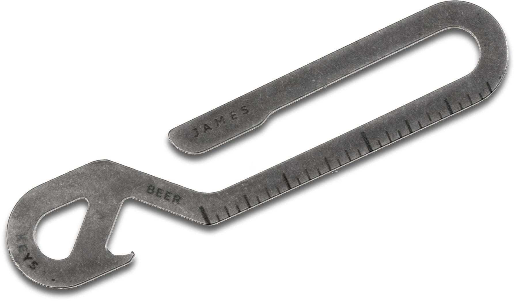The James Brand Hook Key Loop/Bottle Opener Multi-Tool, Raw Stainless Steel