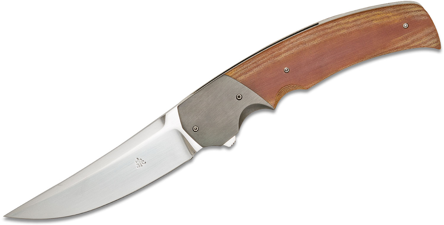 Jason Clark Custom Persian Flipper Knife 3.75 inch CTS-XHP Hand Rubbed Satin Blade, Natural Linen Micarta Handles with Zirconium Bolsters