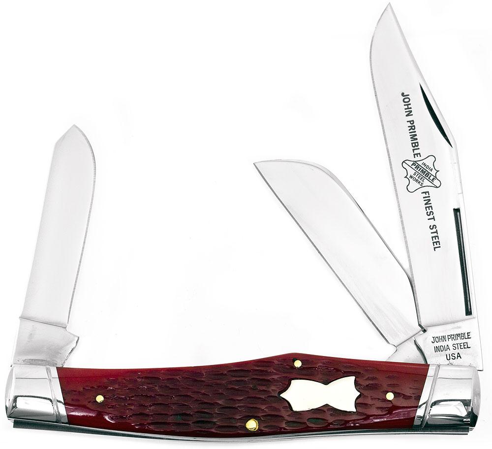 John Primble Reverse Gunstock w/ 3 Stainless Steel Blades and Red Bone Handles