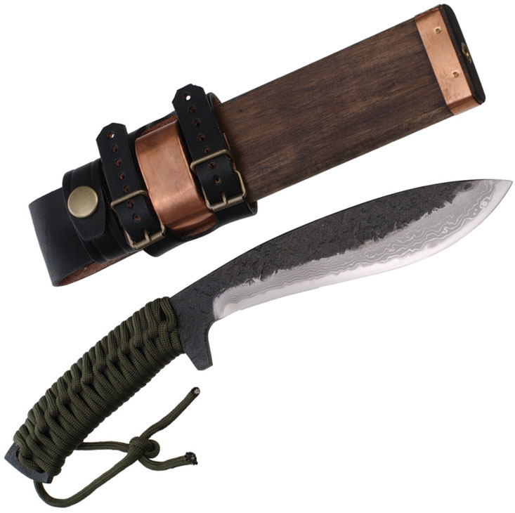 Kanetsune Asobi Fixed 6 inch Damascus Kukri Style Blade, Parachute Cord Wrapped Handle, Wooden Sheath