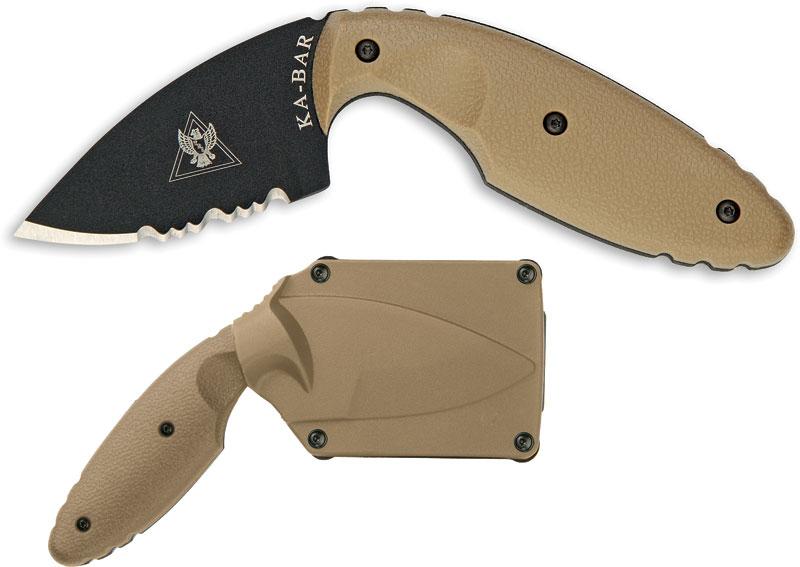 KA-BAR 1477CB TDI Law Enforcement Knife Coyote Brown 2-15/16 inch Combo Blade