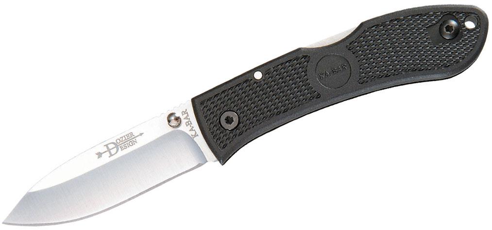 KA-BAR 4062 Dozier Folding Hunter 3 inch Satin Plain Blade, Black Zytel Handles