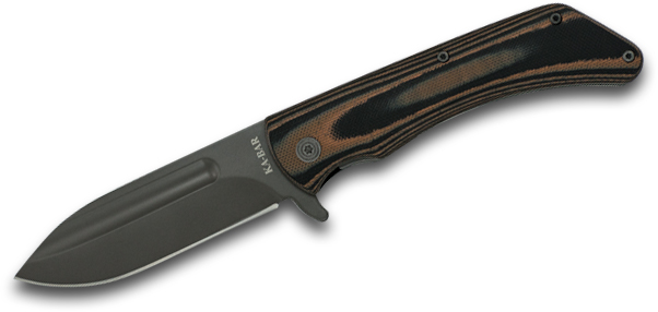 KA-BAR 3066 Mark 98 Flipper Knife 3.5 inch Black Spear Point Blade, Black/Brown G10 Handles