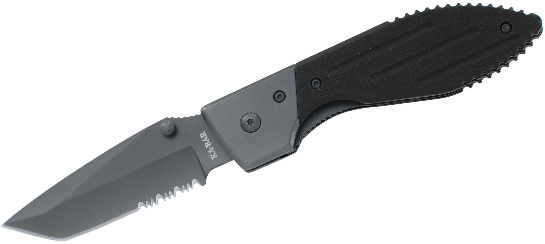 KA-BAR 3075 Warthog Folder III 3.125 inch Tanto Combo Blade, Black G10 Handles