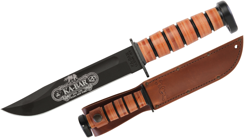 KA-BAR 9193 120th Anniversary Dog's Head Utility Knife 7 inch 1095 Cro-Van Blade, Leather Handle, Dog's Head Logo Leather Sheath