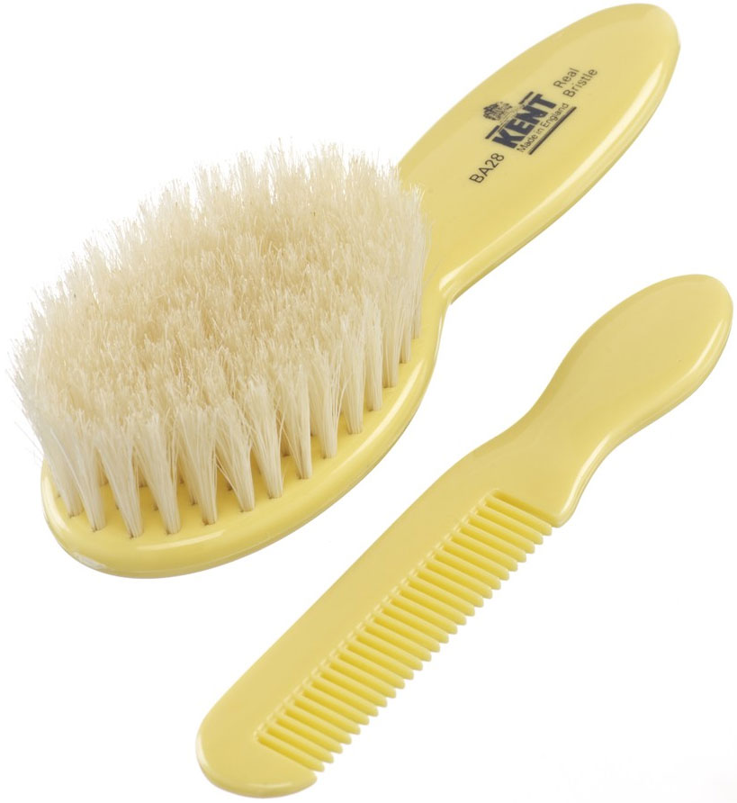Kent Brushes BA28 Baby Brush and Hair Comb Set, Yellow