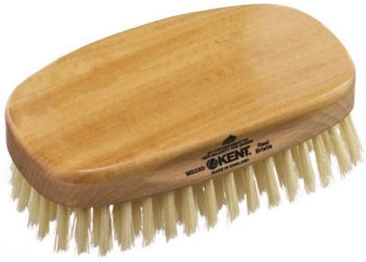 Kent Brushes MS23D Rectangular Satin and Beech Wood, Pure Soft White Bristle Hair Brush