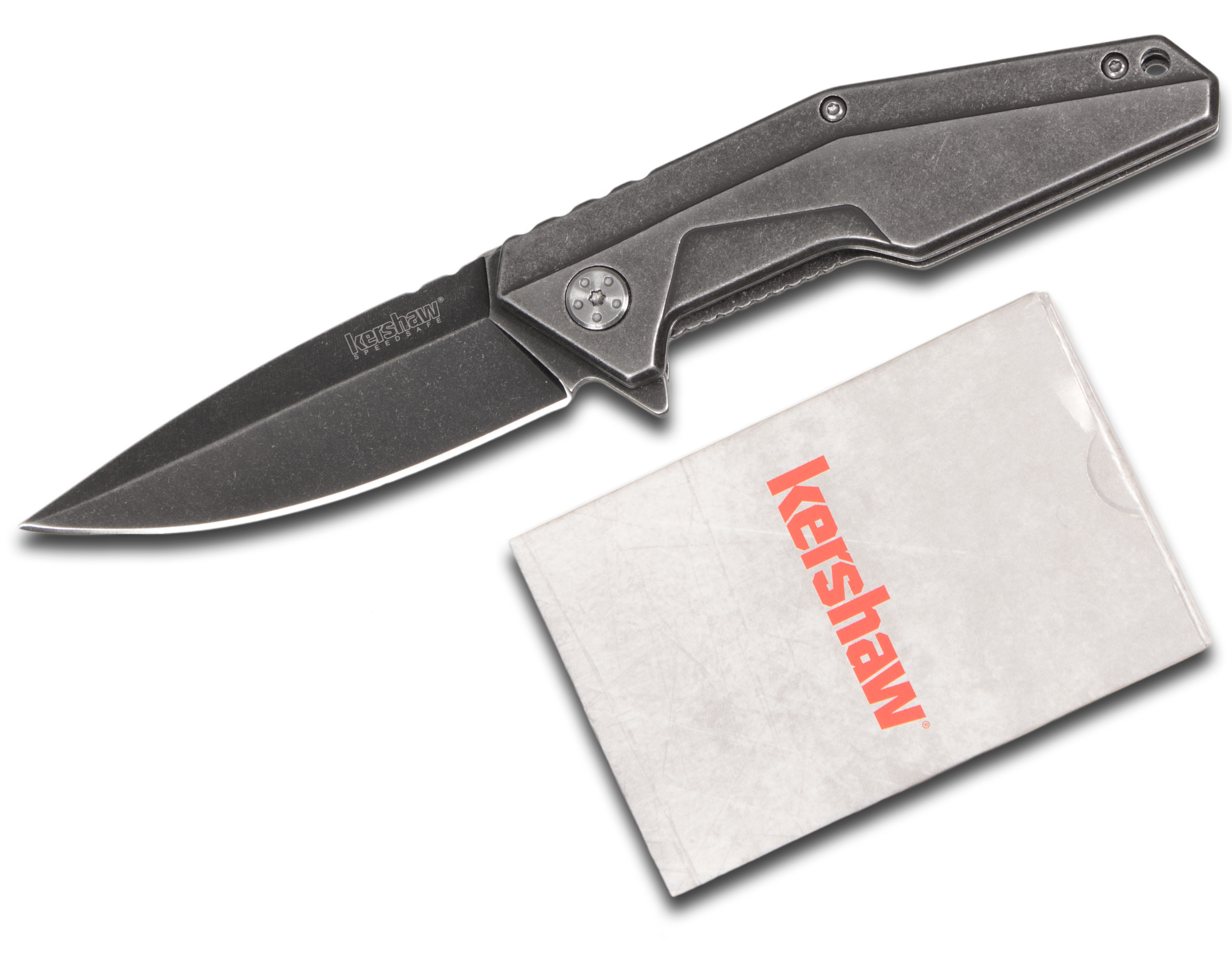 Kershaw 1318KITX Starter Series Pack, Assisted Opening Blackwash Flipper Knife and Playing Cards