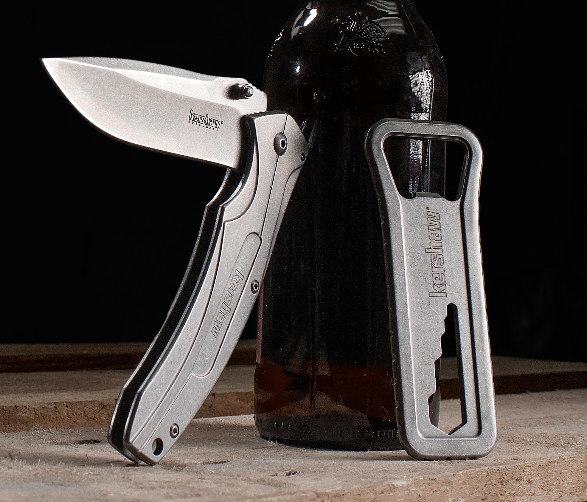 Kershaw 1323KITX KBO Set, Assisted Opening Flipper Knife and Bottle Opener  Multi-Tool