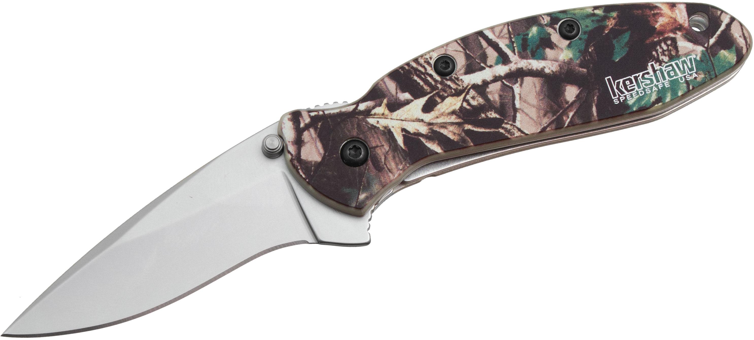 Kershaw 1620C Ken Onion Scallion Assisted Flipper Knife 2.25 inch Bead Blast Plain Blade, Realtree Hardwood HD Camo Aluminum Handles